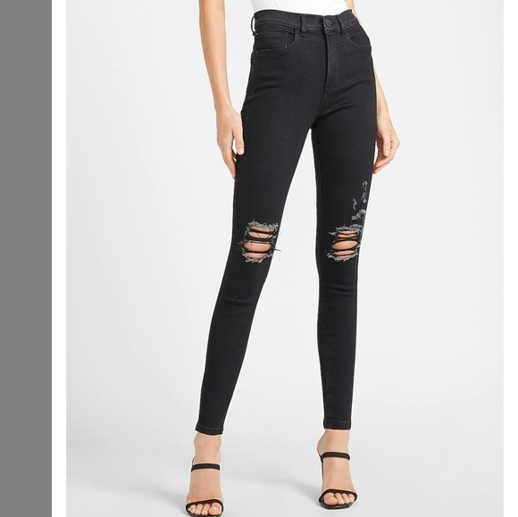 🔥NWT EXPRESS High Waisted Ripped Skinny Jeans
